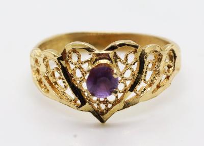 Luxusní starožitný zlatý prsten s ametystem - 14K