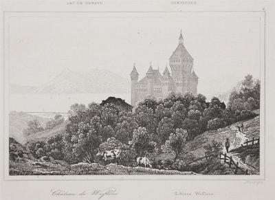Wuflens Schloss, oceloryt, 1860