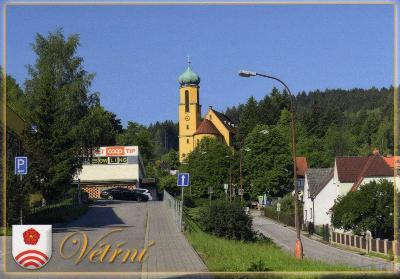 obec Větřní - kostel sv. Jana Nepomuckého, erb