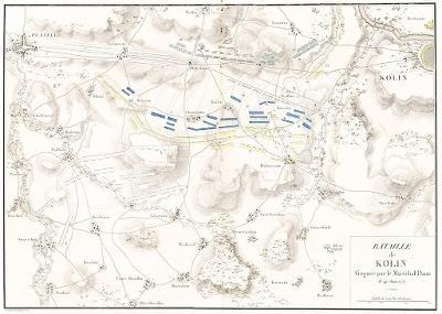 Kolín bitva  plán,  mědiryt, (1780)