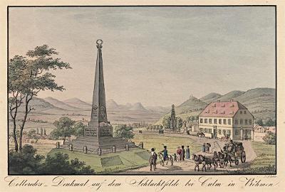 Chlumec památník bitvy, Richter, kolor. lept, 1820