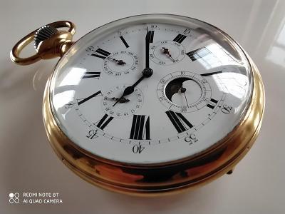 Vzácné obrovské lunární hodinky, 9,5cm.