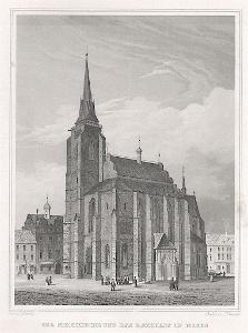 Plzeň radnice, Lange, oceloryt, 1842