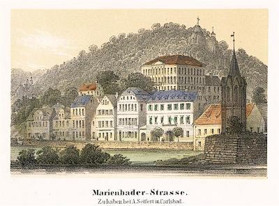 Karlovy Vary  nábřeží, Sandmann, litografie, 1846