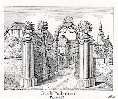 Podbořany, Glasser, litografie, 1836