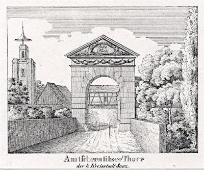 Žatec, Glasser, litografie, 1836