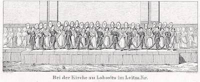Lovosice kostel , Glasser, litografie, 1836