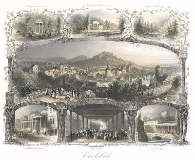 Karlovy Vary , Payne,kolr. oceloryt 1860