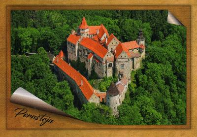 hrad Pernštejn  - letecký pohled