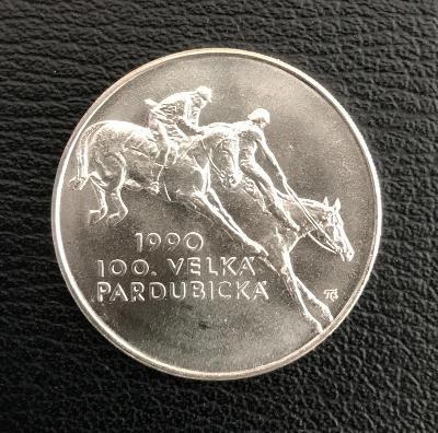 🌶Stříbrná mince 100 Kčs 100. Velká Pardubická 1990, perfektní stav!