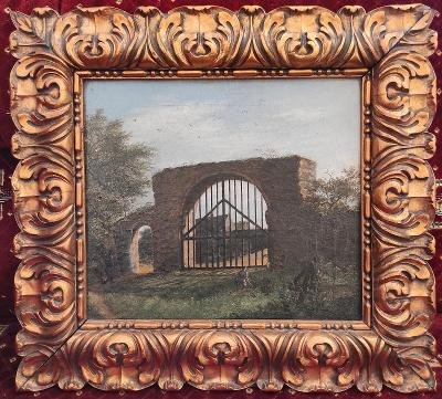Kvalitní a zajímavý -  neobvyklý obraz na plátně - 1.pol. 19. století