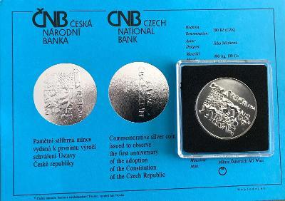 Stříbrná mince 200 Kč Schválení Ústavy České republiky 1.výročí 1993