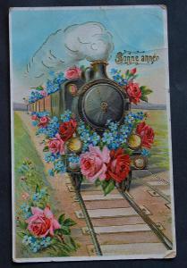 Lakovaná - zlacená - Nový rok - lokomotiva - pomněnky