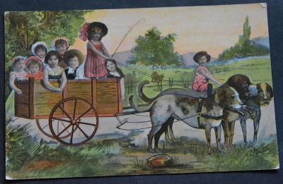 Lakovaná - děti - vozík - pes - psi
