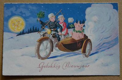 Nový rok - motorka - prase - kominík - čtyřlístek