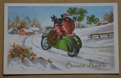Nový rok - motorka - beruška - čtyřlístek