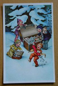 Nový rok - děti - truhla - peníze - mince