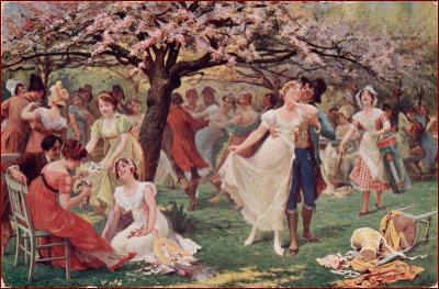 Tanec * lidé, žena, muž, láska, kvetoucí strom, krajina * M5674