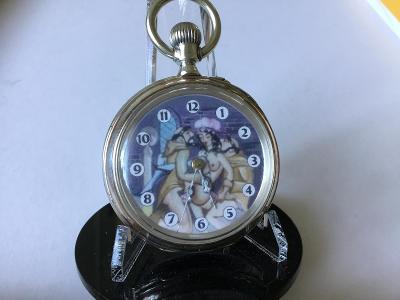 Starožitné dvoupláštové Ag hodinky s ~ Erotickým motivem