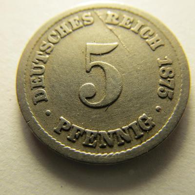 Německo, Kaiser Reich , 5 pfennig z roku 1875 B