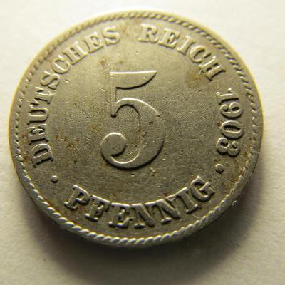 Německo, Kaiser Reich , 5 pfennig z roku 1903 J - R - HLEDANÁ