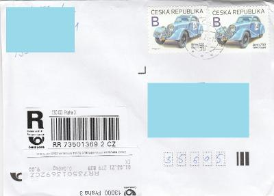 R nálepka APOST  Praha 3 + známky