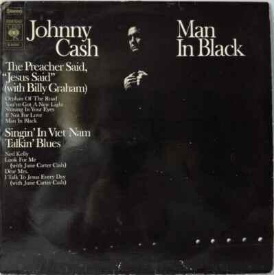 LP Johnny Cash - Man In Black, 1971 EX