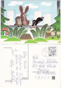 Dětská kreslená pohlednice - Krtek