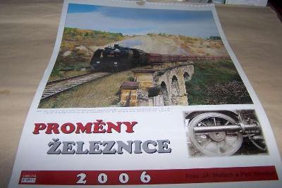 ČSD NÁSTĚNNÝ KALENDÁŘ PROMĚNY ŽELEZNICE PARNÍ  LOKOMOTIVA  r.2006/žř/