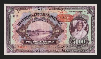 PROTEKTORÁT- 5000 korun,1943 - nevydaná - špičkový stav UNC
