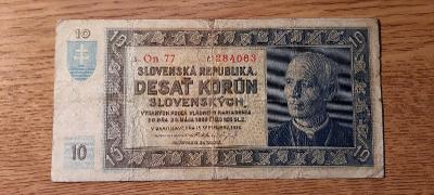 10 Korun Slovenská republika 15.9.1939 neperforovaná, oběhový stav