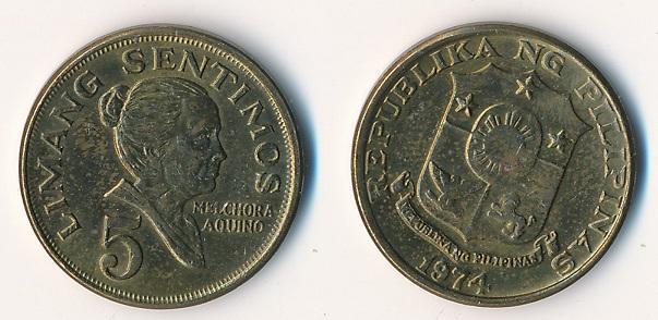 Filipíny 5 sentimos 1974