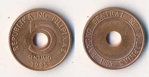 Filipíny 5 sentimos 1995