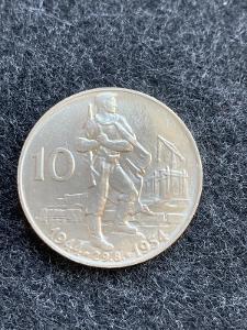 🌶 Vzácná stříbrná Mince 10 KČS 1954 - 10. výročí SNP