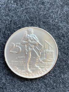 🌶 Stříbrná mince 25 Kčs - 10. výročí SNP - 1954