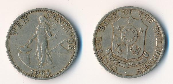 Filipíny 10 centavos 1964