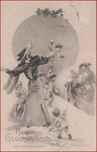 Nový rok * žena, sněhová koule, anděl, děti, naháč * M2379