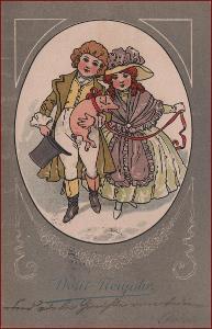 Nový rok * prasátko, děti, dvojice, litografie, secesní motiv * M2807
