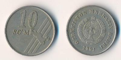 Uzbekistán 10 sum 2001