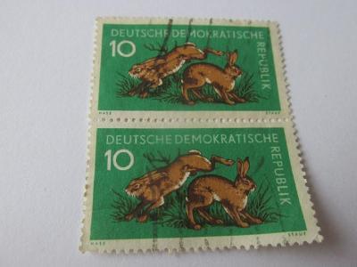 Prodávám známky DDR 1959, Lesní zvířata, Zajíci