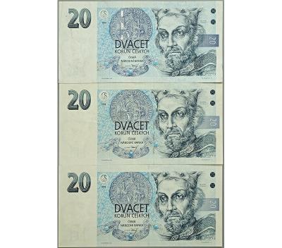 3× 20 Kč 1994, série A 03, A 23, B 56