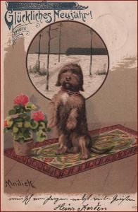 Mailick A. * pes, zvířata, květiny, litografie, Nový rok * M3017