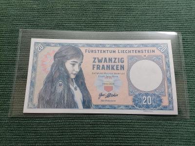 20 lichtejnštejnských franků 2020, černovlasá dívka, Y01 00625, stav N