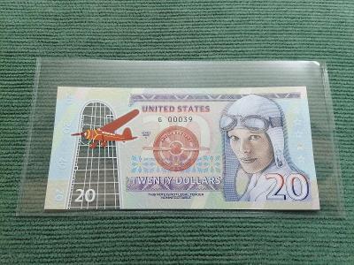 20 amerických dolarů Amelia Earhart 2020, G 00039, polymer, stav UNC