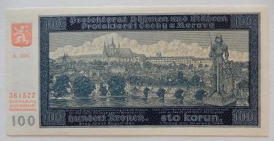 ČECHY A MORAVA (P07a) 100 Korun 1940 UNC Série: G NEPERFOROVANÁ