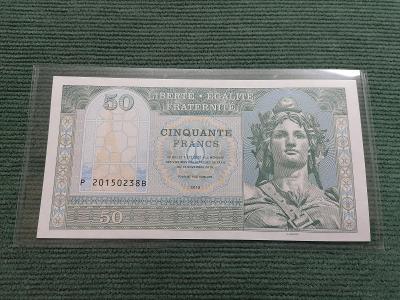 50 francs zelená, Je suis Paris, P 20150238B, stav UNC