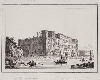 Napoli palazzo  Anna, Le Bas, oceloryt 1840