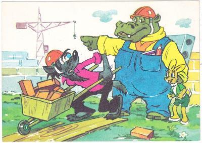 SSSR - Dětská kreslená pohlednice - Jen počkej zajíci !