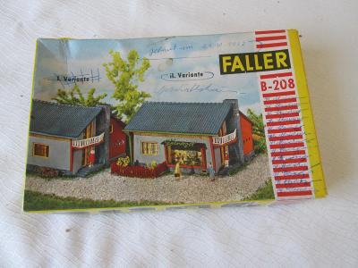 Papírová krabička + návody na stavbu baráčků Faller - rok 1957.