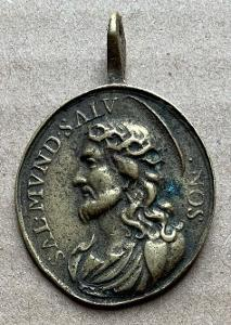 Baroko Ježíš Panna Marie stará medaile velká svátostka RU medailon TOP